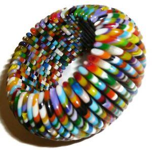 Sobral Magazine Dazed Rainbow Day Stripe Half Moon Artist Made Stretch Bracelet