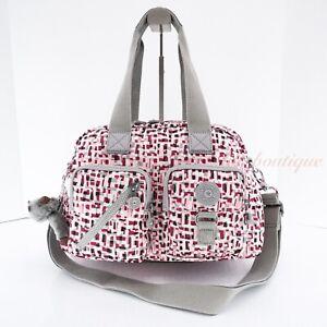 NWT Kipling HB3510 Defea Large Satchel Shoulder Handbag Nylon Glamorous Tiles