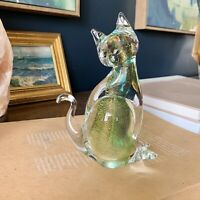 vintage murano art glass sommerso style cat figurine with gold details
