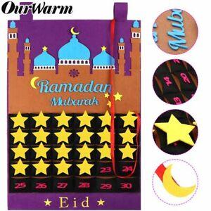 Eid Ramadan Mubarak Felt Advent Calendar Hanging Countdown Muslim Kid Gifts 2021