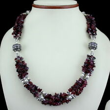Necklace natural almandine garnet gemstone beaded handmade jewelry chips 71 gm