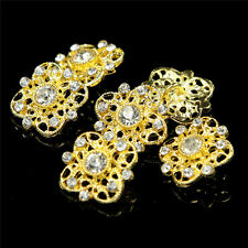 New 6Pcs Gold/Silver Clear Crystal Rhinestone Shank Buttons Sewing Craft 20mm