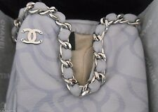 $1115 CHANEL Silver Chain Around CC Leather Gloves Camellia Flowers Size 7 NWT