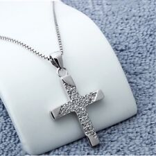 """Women's Sterling Silver Cross Crystal Pendant Elegant Necklace Charm 18"""" Chain"""