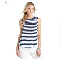 Vineyard Vines Women's Striped Linen Blend Tank Top Shirt Navy Blue White Medium
