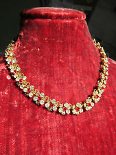 Super vintage 50's riveted red/clear cut glass flower chain necklace, stunning!