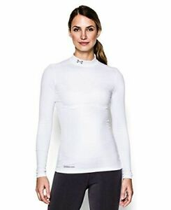 New Under Armour Women's ColdGear Armour Compression Mock Long Sleeve White