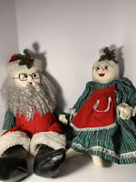 """Mr And Mrs Santa Claus Hand Made 30"""" Tall Flexible  Unique"""