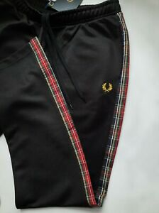 FRED PERRY TARTAN DETAIL TRACK PANT BLACK T7100 102 NEW WITH TAGS SIZE UK 14