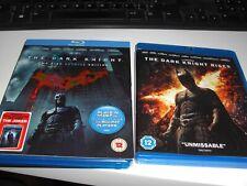 The Dark Knight (with cardboard slip) & The Dark Knight Rises Blu Ray DVD's.
