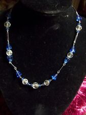 "1950""S/16 INCH/GLASS BEADS/SILVER PLATED SPACERS/NECKLACE"