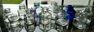 LOT 11 INK WELL Bottles Spool Schoolhouse Cobalt Aqua Clear Sanford Carter's