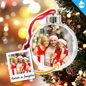 Palla Pallina di Natale con 2 Foto Personalizzabile Idea Regalo Albero Addobbo