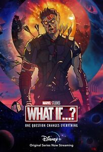 What IF NEW TV animated Series Hawk Eye DECAL Poster Spider Man Zombie Hunter