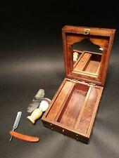 Antique Vintage Style Shaving Mirror Box Travel Set