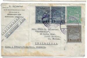 (4) Venezuela 1936 Hindenburg Zeppelin cover