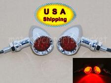 USA Motorcycle Bullet RED LED Turn Signal+Brake Stop+Running Tail Lights Harley