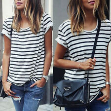 Summer Women Short Sleeve Cotton Loose Stripe T Shirt Casual Tops Blouse