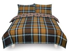 Check Stag 'Brown' Bedding Double Duvet Cover Set Brand New Gift