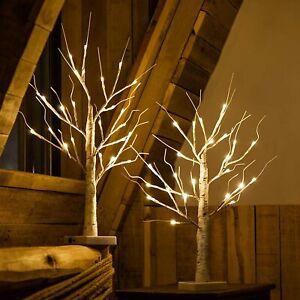 2X LED White Twig Birch Tree Light Up Christmas Branch Lamp Desktop Decor Light
