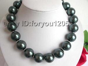 Natural 20mm Tahiti Black Round Shell Pearl Necklace!