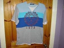 Men's Vintage Emmanuel Fyrone Blue,Grey Distressed V Neck Cotton Tshirt - Medium