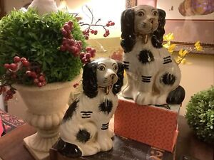 """Pair of Staffordshire Dogs~Hand Painted~Black & Cream~8""""H~FREE SHIPPING~Lovely~"""