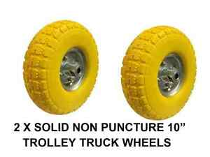 """BN 2 X REPLACEMENT SACK TRUCK WHEEL WHEELS SOLID NON PUNCTURE 10"""" TROLLEY TRUCK"""