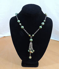 """Green Brown Turquoise Gemstone Bead Necklace with Silvertone Tassel 18"""""""