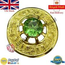 Scottish Thistle Kilt Fly Plaid Brooch Irish Green Stone Gold Finish Pin Brooche