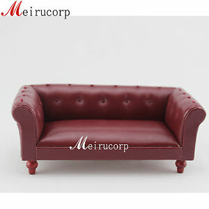 OB11 Miniature Furniture 1/12 Scale Handcrafted Leather Sofa for Dollhouse