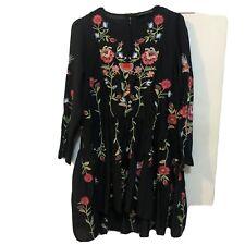 ZARA sz S Black Cotton Floral Embroidered Boho Dress