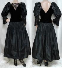 80's Romantic Black Velvet Embroidered Lace & Taffeta Formal Dress Ball Gown M