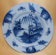 ENGLISH DELFT HANDPAINTED BLUE & WHITE CHINESE RIVER & PAGODA SCENE PLATE C1760