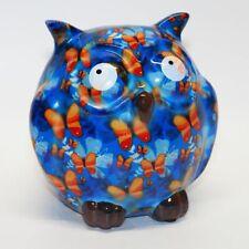 POMME PIDOU - exklusive Spardose - Keramikfigur EULE ZAZA blau / Schmetterlinge