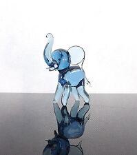 Blue Elephant Baby Glass Ornament Mantelpiece Display Cabinet Shelf Decor New
