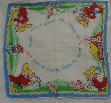 Child's Walt Disney Snow White Dopey Likes To Work Handkerchief