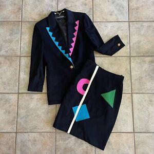 Vintage 80s Size 8 Louis Feraud Jacket Skirt Set Wool Geometric Oversized Black