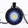 Mandala Peace Sign Photo Tibet Silver Cabochon Glass Chain Pendant Necklace