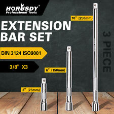 "3pc 3/8"" LONG Extension Extender Bar Set 3"" 6"" 10"" Drive Ratchet Wrench Socket"