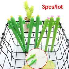 3Pcs 0.5mm Cute Cactus With Flower Gel Black Ink Pen Kawaii Plant Writing Pens