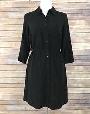 BCX Women's Sz Medium M Solid Black Dress Button Front Rayon