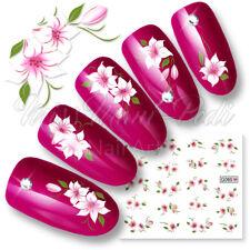 Nail Art transferencias de agua pegatinas Wraps calcomanías Flores Tropicales Rosa Blanco g065