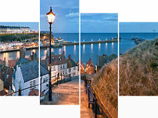 Large 4 Panel Set Wall Art Canvas Pictures Whitby Yorkshire Sea Holiday Prints