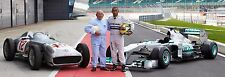 Lewis Hamilton & Stirling Moss 30x10 Inch Canvas - F1 Framed Picture Mercedes