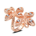 18K Rose Gold Plated Butterfly Crystal Ring Elegant Jewelry CZ Rhinestone Gift