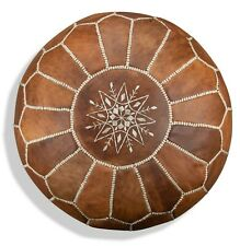 Moroccan Leather Pouf Cognac Brown - Delivered Stuffed, Ottoman, Footstool