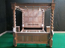 OAK WOOD Super King size 6' Raw Natural finish Four poster canopy Tudor Bed