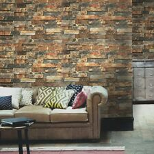 HaokHome Faux Brick Peel and Stick Wallpaper Rusty/Dark Grey Stacked Stone