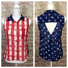 Jessica Simpson Sheer Patriotic American Flag Blouse July 4th Small Button Front